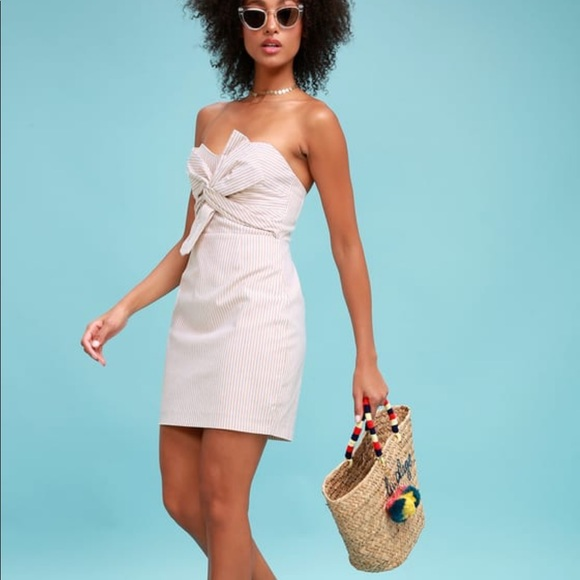 Dresses & Skirts - Beige and White Striped Strapless Dress with Bow